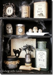 Halloween Apothecary Cabinet by Vintage with Laces