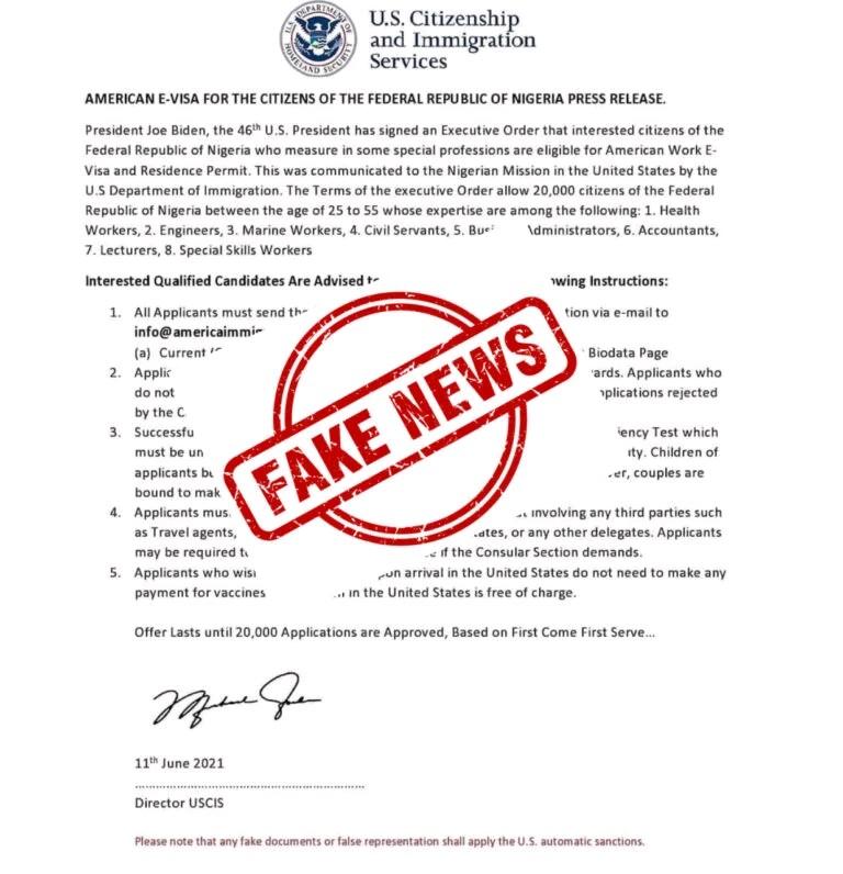 Circular Of US Offering Nigerians Work Visa Is Fake (Photo)