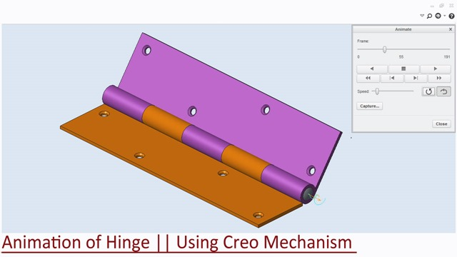 Animation of Hinge--Using Creo Mechanism