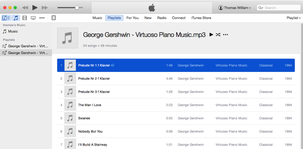 ITunes playing George Gershwin from Tangerine