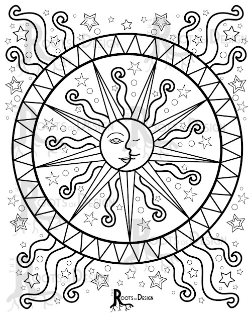 Instant Download Coloring Page  Celestial Mandala Design Doodle Art  Printable Design