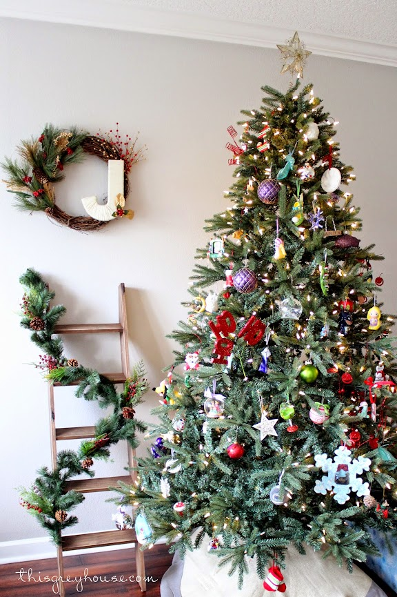 DIY Christmas Stocking Ladder by This Grey House