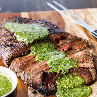 Grilled Flank Steak with chimichuri sauce.