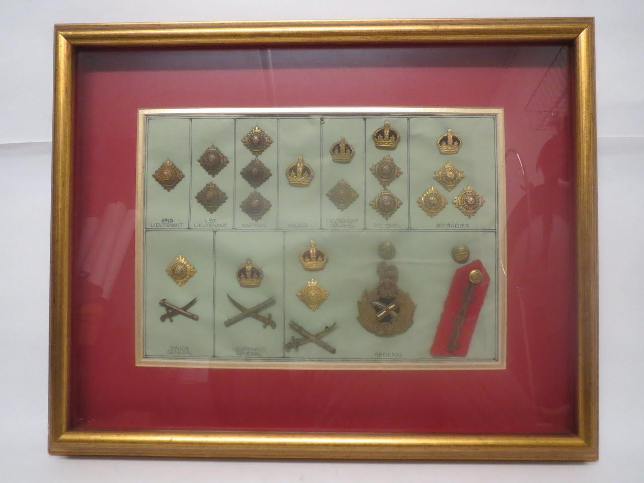 Framed British Military Insignias