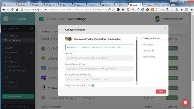 Web Push Notification OneSignal Configure Chrome and Firefox