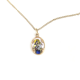 14K Gold Virgin Del Carmen Pendant Necklace