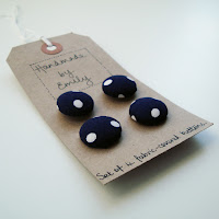 blue polka dot vintage fabric buttons handmade by emily