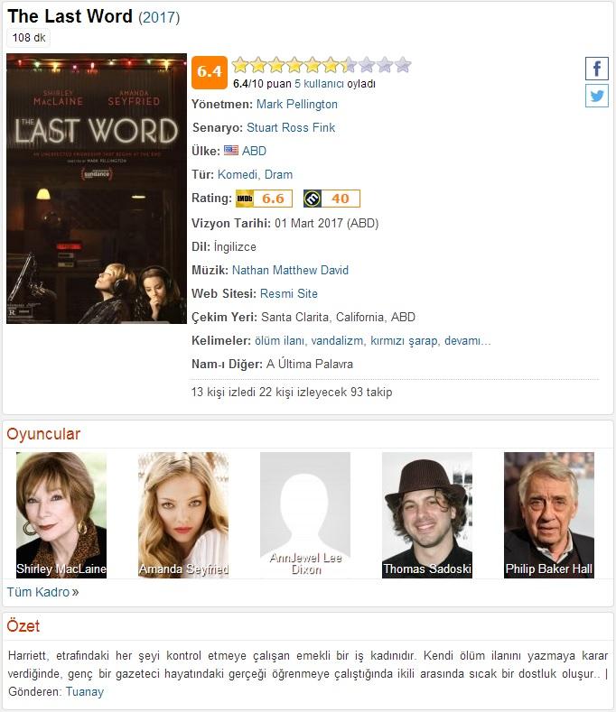 The Last Word 2017 - 1080p 720p 480p - Türkçe Dublaj Tek Link indir