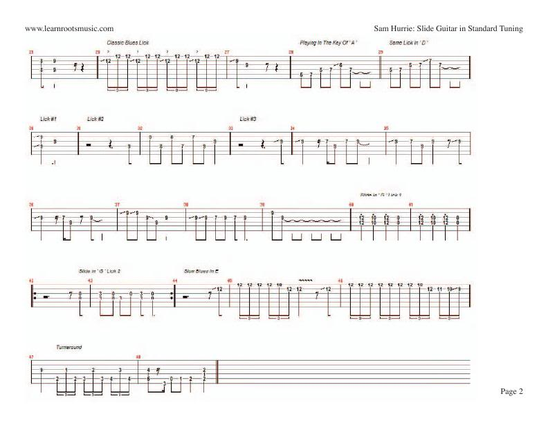 Sam Hurrie - Slide Guitar In Standard Tuning (sheet music)
