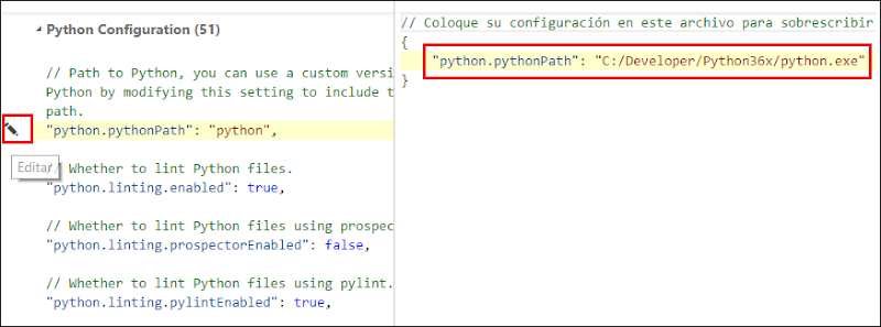 cambiar python path VS Code