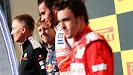 US podium: Martin Whitmarsh, Sebastian Vettel, Lewis Hamilton and Fernando Alonso