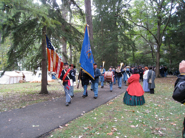 The 5th MI Regimental Band marches the troops to the grave site of Rutherford Hayes