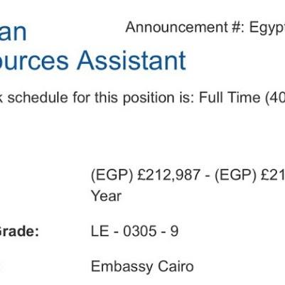 وظائف السفارة الامريكية في القاهرة مرتب 12.000 ج شهريا