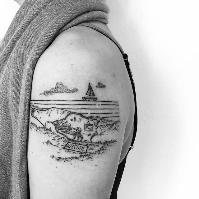 legal_praia_paisagem_braço_de_tatuagem
