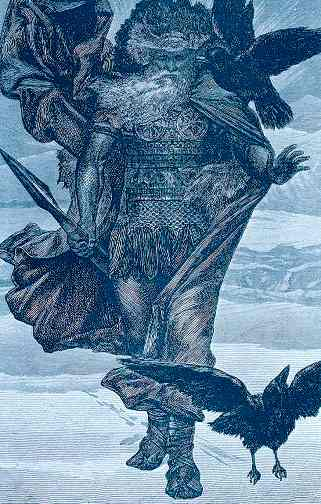 Oden With Huginn And Muninn, Asatru Gods And Heroes