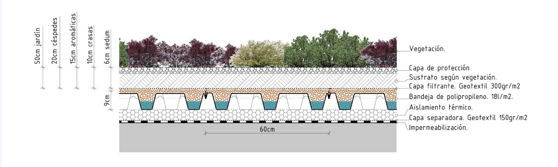 Sistema baobab de cubierta aljibe ecológica cubierta vegetal cubiertas vegetales techos verdes green roof