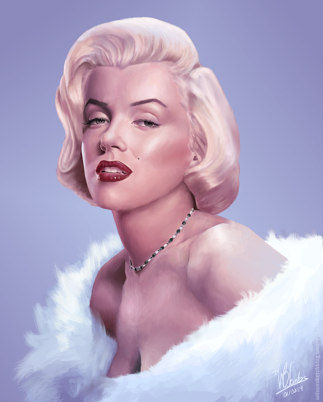 Digital painting of Marilyn Monroe, using Krita.