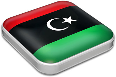 Flag of Libya with metallic square frame
