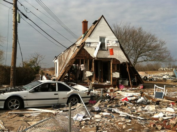 The upper story of a destroyed home