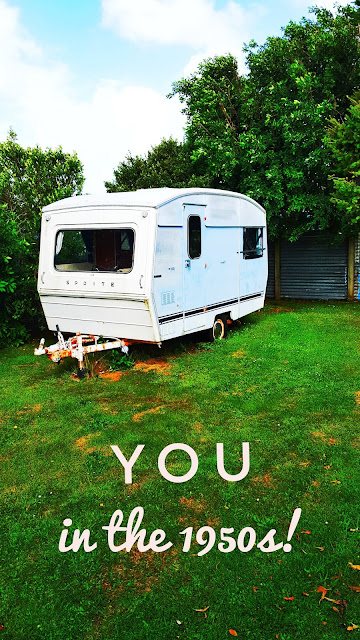 Photo of a caravan parked up in a garden edited to have a slight poster feel