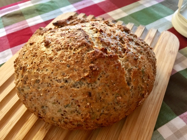 Seeded no-knead crusty pot bread