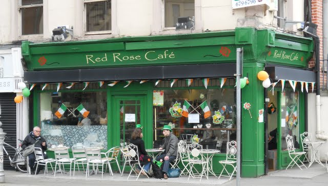 Celebrating St. Patrick's Day in Dublin Ireland - Decorated Cafe
