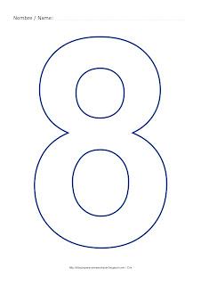 Lámina para colorear y pintar el número ocho en color azul