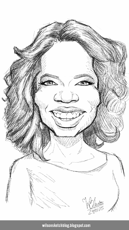 Caricature sketch of Oprah Winfrey.