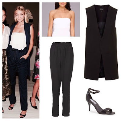Get The Look For Less Gigi Hadid in Adam Lippes Long Vest and Paperbag Waist Pants at NYFW Vogue