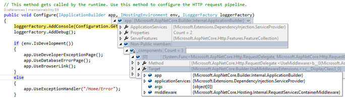 Instancia de IApplicationBuilder recibida en el método Configure()