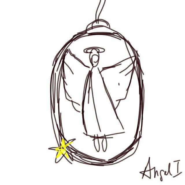 Skizze eines Anhängers mit Schutzengel, von Meike Kröger - Atelier kleine Freiheit