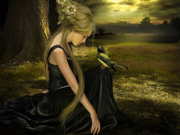 Loneliness Of A Girl On Dark Field, Fairies 3
