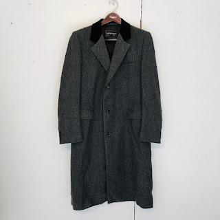 Yves Saint Laurent Herringbone Velvet Collar Top Coat