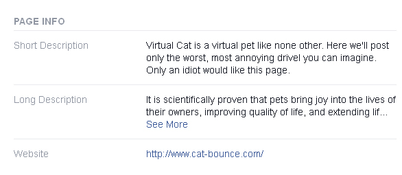 Virtual Cat: Only an idiot would like this page