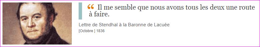 Lettre de Stendhal à la Baronne de Lacuée