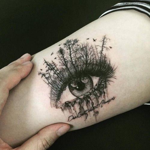 surreal_floresta_olho_braço_de_tatuagem