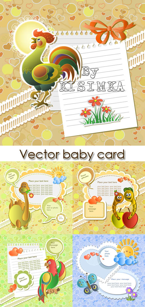 Stock: Vector baby card with scrapbook elements