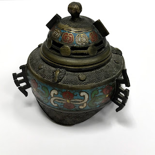 Bronze and Cloisonne Vintage Incense Burner