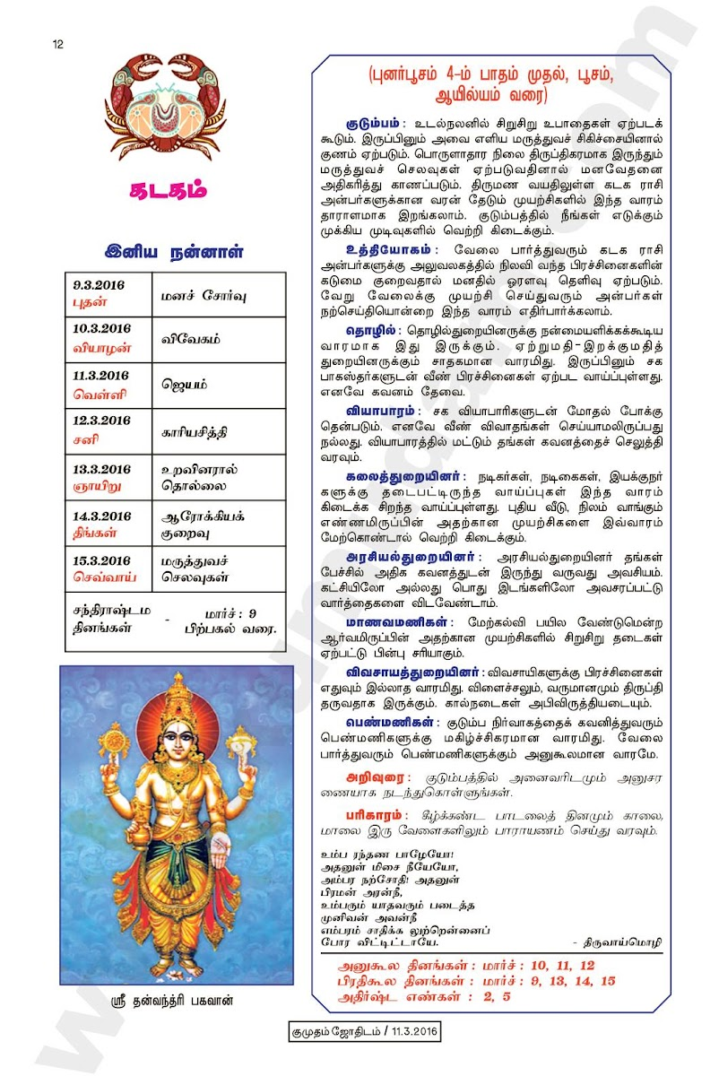 Kumudam Jothidam Raasi Palan March 9-15, 2016