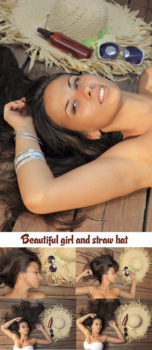 Stock Photo: Beautiful girl and straw hat
