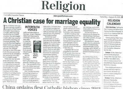 Headline 'Christian case for marriage equality' Gazette-Times Aug. 15, 2015, p. A7