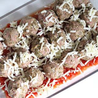 Mozzarella-Stuffed Turkey Pesto Meatballs