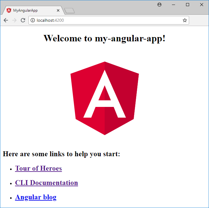 Angular default screen