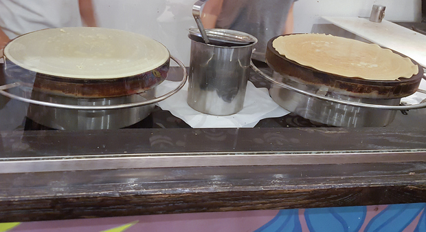 photo of crepes cooking