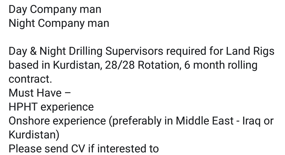 Oil and Gas Jobs: 28/28 Rotational Drilling Supervisors Iraq