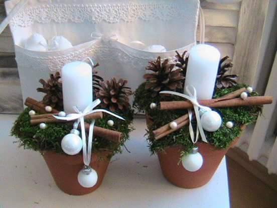 Hermosos Arreglos Navidenos Con Velas Blancas - Arreglos-navideos
