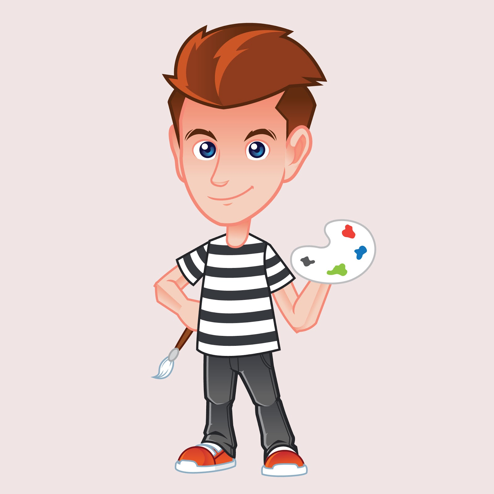 Painter Mascot Illustration Free Download Vector CDR, AI, EPS and PNG Formats