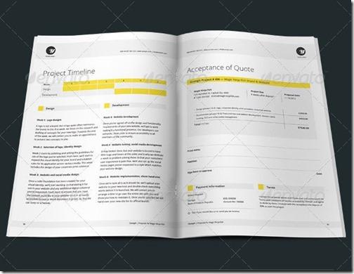 Plantilla fácil de usar para Word. 12 páginas limpias con plan de negocio, contrato y facturas