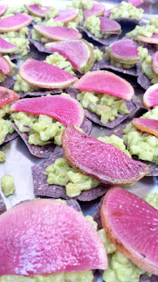 Avocado and Pear Salad topped with Sliced Radish by Eastburn to accompany Food Should Taste Good Blue Corn chips