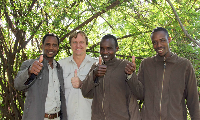 Wayne Lotter with his colleagues at PAMS. Lotter, 51, was shot on 156 August 2017 in the Masaki district of the city of Dar es Salaam. Photo: Krissie Clark / PAMS Foundation